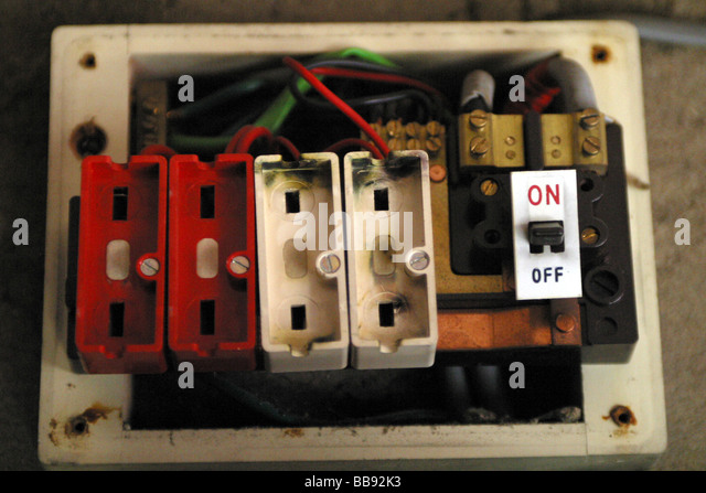 old style wire fuse box with no fuses installed bb92k3 blown fuse stock photos & blown fuse stock images alamy old fuse box blown at n-0.co