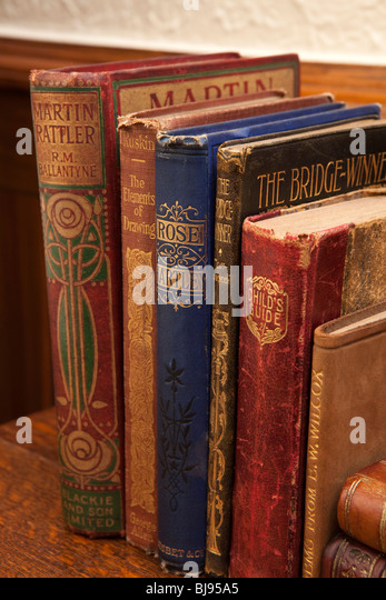Domestic Interior, Edwardian Era Books With Art Nouveau Spines On Top Of  Arts And Crafts
