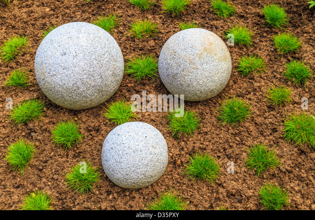 Japanese Zen Garden With Granite Stone Boulders   Stock Image