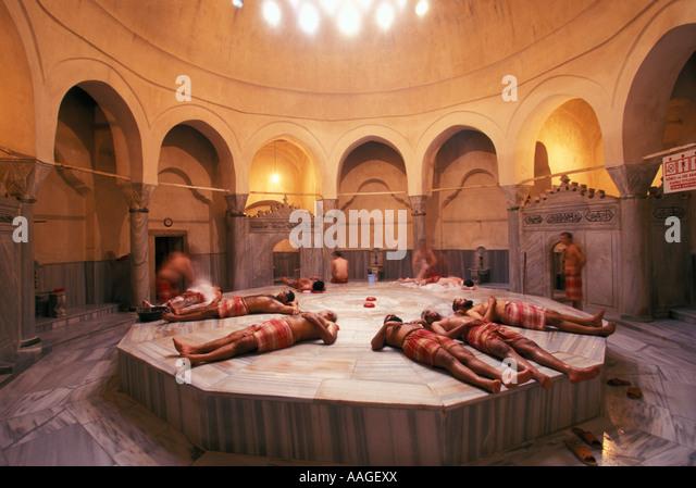 men enjoying cagaloglu hammam istanbul istanbul turkey stock image