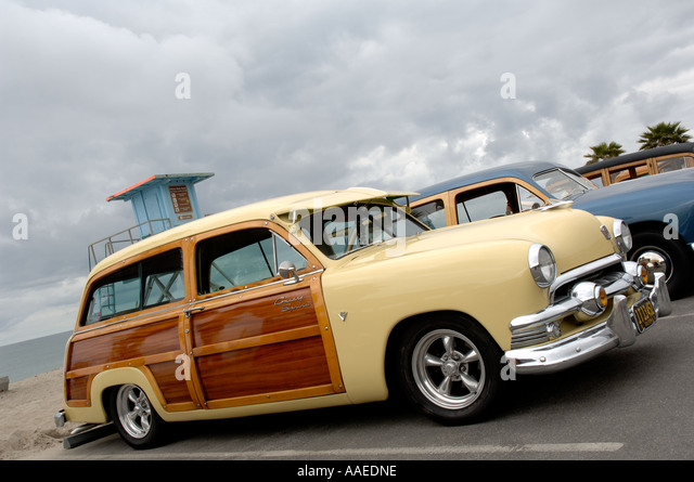 Southern California Classic: Woody Station Wagon Car Stock Photos & Woody Station Wagon