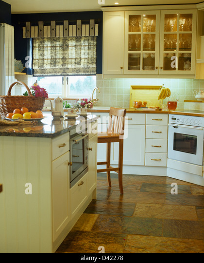 kitchen flooring blind soft furnishings stock photos & kitchen