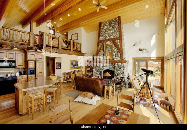 Modern log house interior for Luxury log home interiors