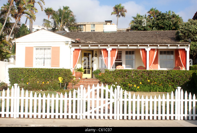 California Bungalow With A Front Porch And White Picket Fence In La Jolla