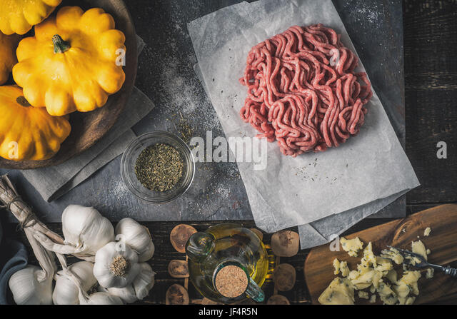 Ingredient for stuffed pattypan top view - Stock Image