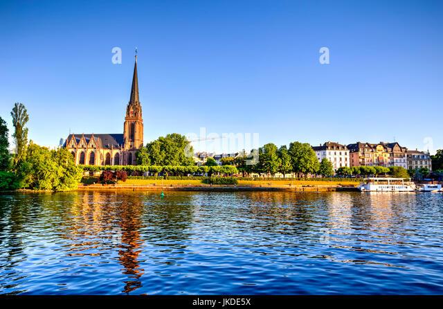 Frankfurt and Main River waterfront, Germany - Stock Image