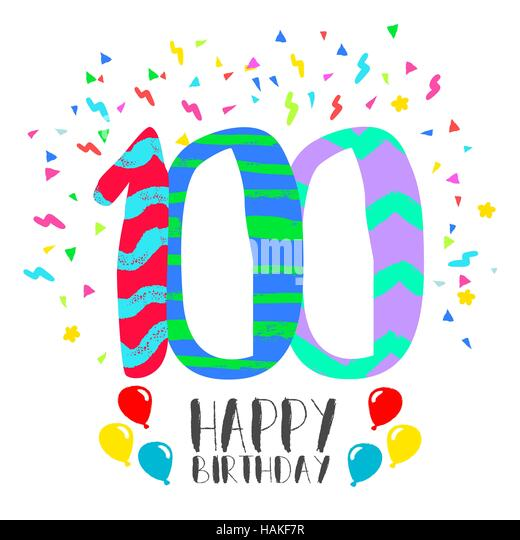 100th birthday card stock photos 100th birthday card stock happy birthday number 100 greeting card for one hundred year in fun art style with bookmarktalkfo Images