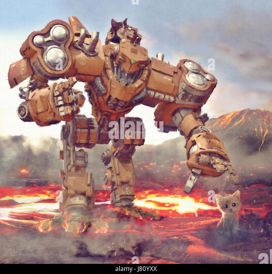 Robot machine try to catch kitten from hot lava illustration painting - Stock Image