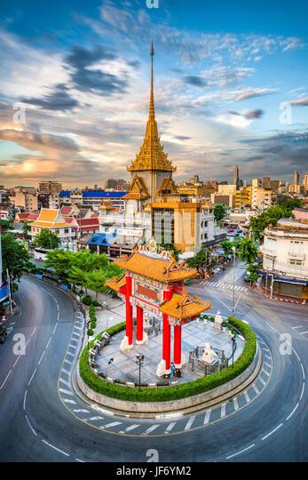 Bangkok, Thailand Chinatown roundabout at dusk. - Stock Image