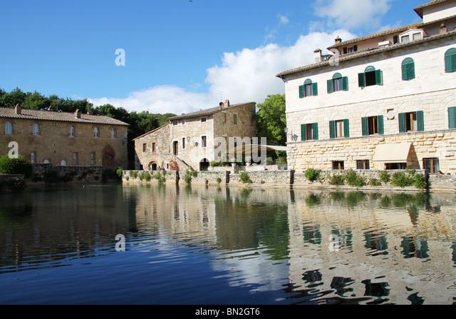 natural sulphuric spa bagno vignoni tuscany italy stock image
