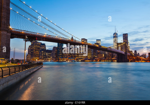 Brooklyn Bridge, Night, Blue Stock Photos & Brooklyn ...