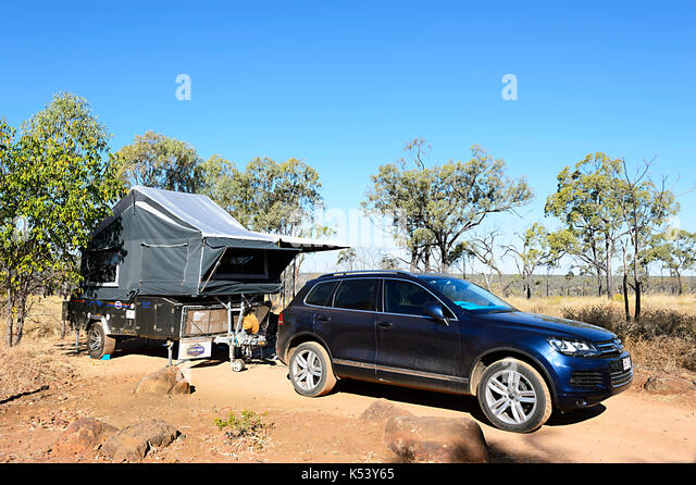 Car Towing A Camper Trailer Bush Camping In Porcupine Gorge National Park Queensland QLD