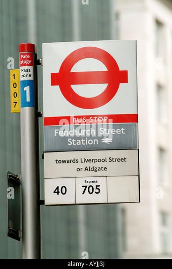 London England Bus Stop Signs Stock Photos & London ...