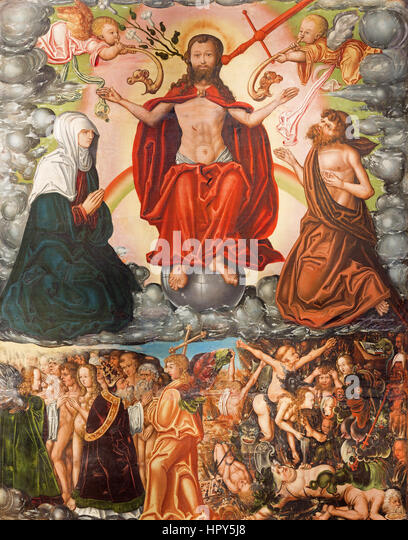 Heaven hell painting stock photos heaven hell painting for Chaldon church mural