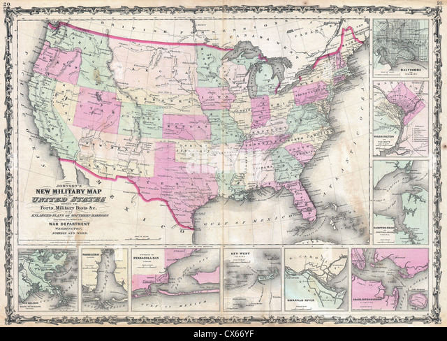 Map Of United States Civil War Stock Photos Map Of United States - Us map 1862