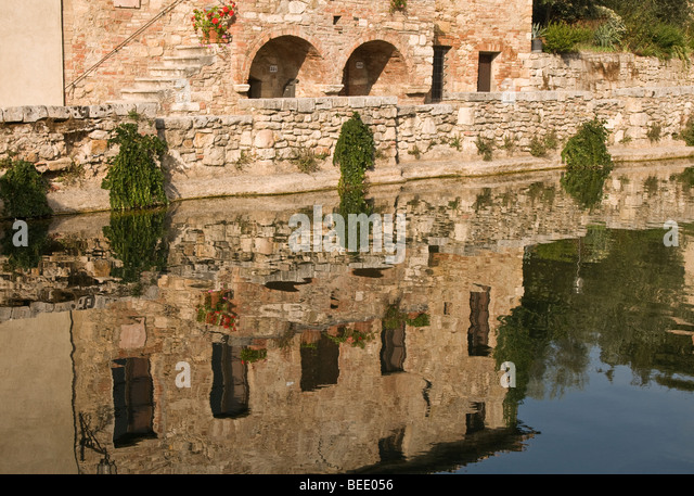 bagno vignoni a spa village in tuscany italy stock image