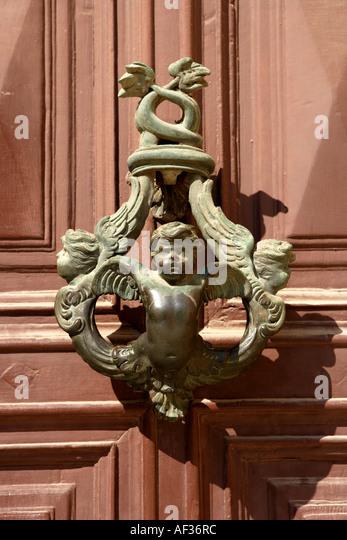 Ornate Victorian Door Knocker, Victoria, Gozo, Malta   Stock Image
