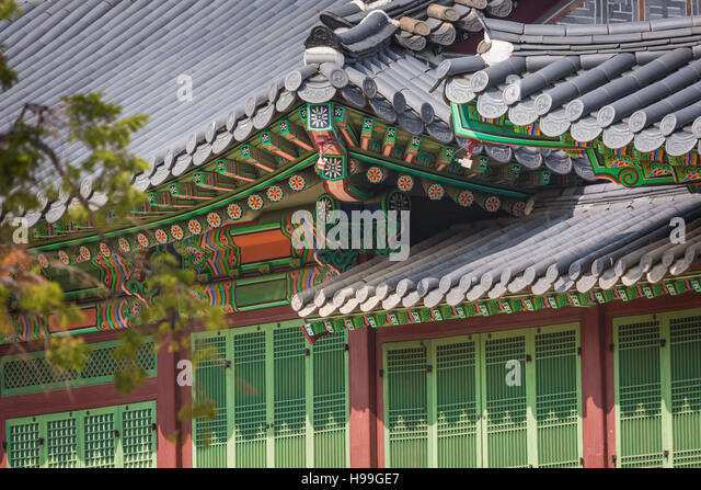 Detail Of Traditional Korean Roof Colourful Decorated Ornament For Ancient Palace Or Temple At