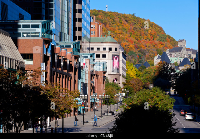 Canada Quebec Province Montreal Downtown McGill College Avenue At The Bottom