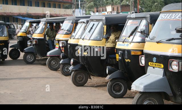 Auto Rickshaw For Rent In Trivandrum: Auto Rickshaw Taxi Stand Stock Photos & Auto Rickshaw Taxi
