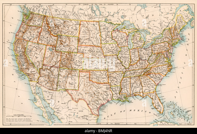 Map Of Usa Stock Photos Map Of Usa Stock Images Alamy - Us population density map 1870s