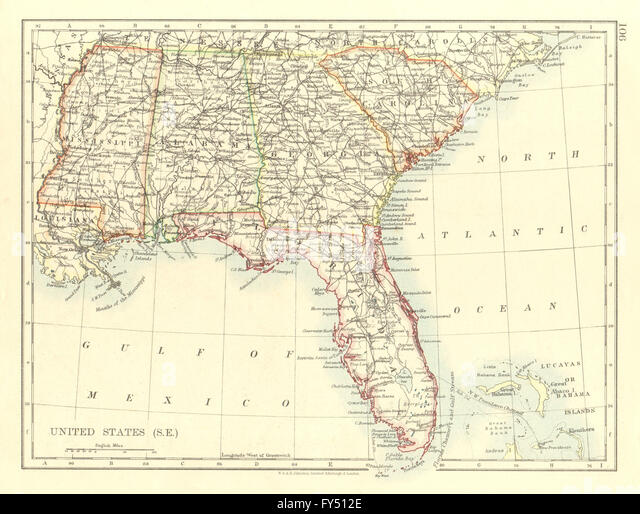 Vintage Map South Georgia South Stock Photos Vintage Map South