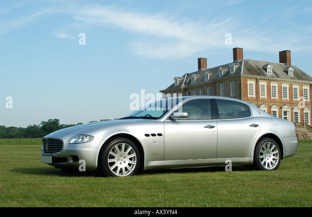 Silver Maserati Quattroporte 2006 Luxury Saloon Car.   Stock Image