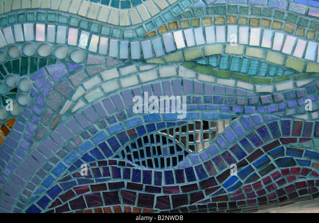 pattern of blue mosaic tiles stock image