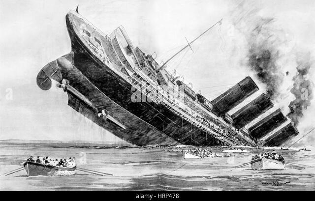 the sinking of the rms lusitania Colored illustration of the sinking of the cunard liner lusitania, may 7, 1915, by a  german submarine off the coast of ireland getty images.