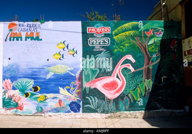 mexiko yucatan playa del carmen wandbemalung stock image - Wandbemalung