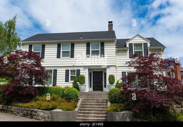 Classic american suburban house in stock photos classic for Classic american house
