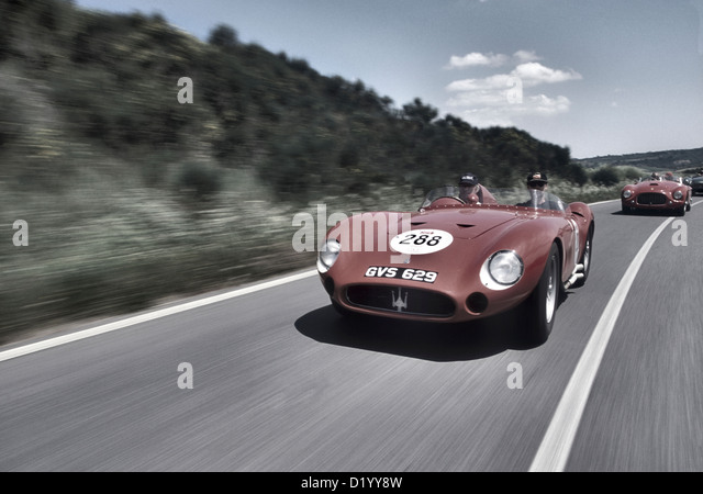 Maserati 300S Sports Racing Car From The 1950u0027s Driving In The 2001 Mille  Miglia.