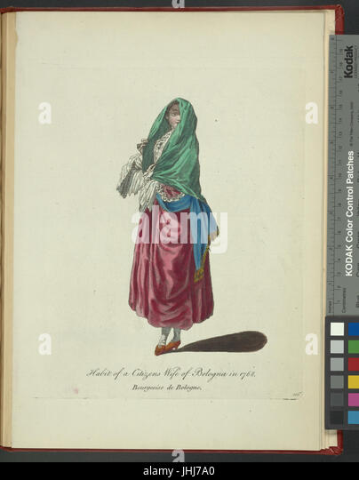 Habit of a citizen's wife of Bologna in 1768. Bourgeoise de Bologne (NYPL b14140320-1638370) - Stock Image