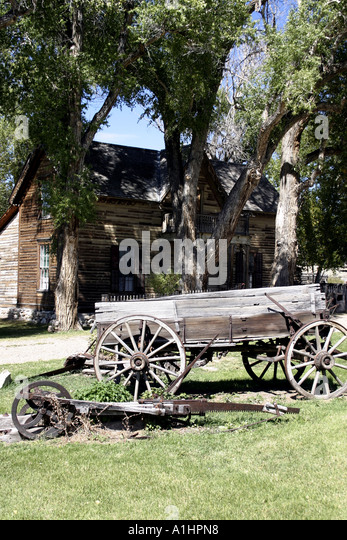 Old wooden mining cart in stock photos