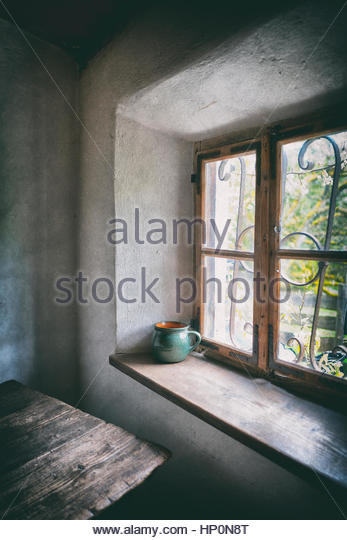 Window Sill Old Cottage House Table Atmospheric   Stock Image