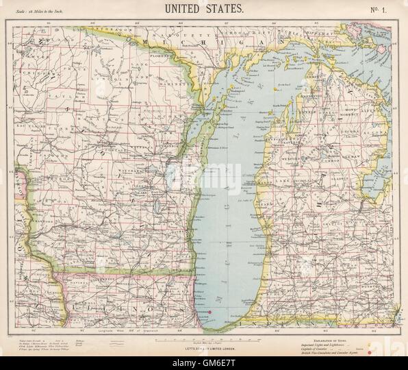 Railroads Chicago Stock Photos Railroads Chicago Stock Images - 1889 us railroad map