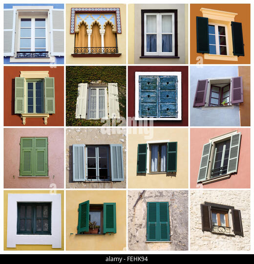Mediterranean Style Windows Viendoraglass Com: Italian Style Shutters In Old Stock Photos & Italian Style