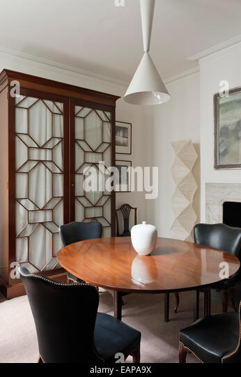 Georgian Dining Table And Leather Chairs In Room With French Mahogany Cupboard Noguchi Paper