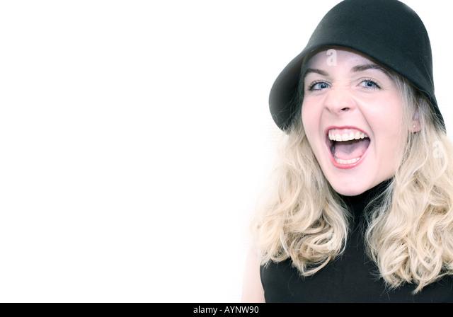 lachende blondine mit hut stock image - Rosa Krbislampe