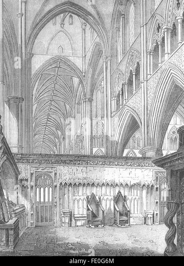 LONDON Nave Westminster Abbey Looking West Antique Print 1845