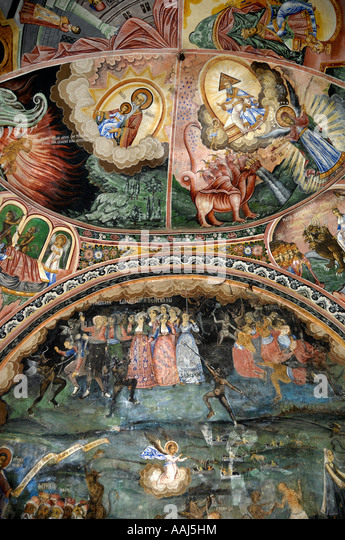 Chaldon Church Mural Of Heaven Hell Painting Stock Photos Heaven Hell Painting