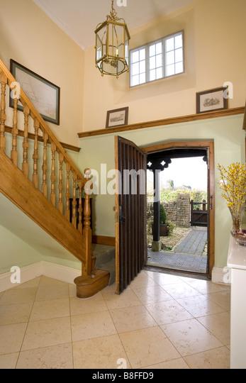inside front door open. A House Interior, Entrance Hall Open Front Door. - Stock Image Inside Door
