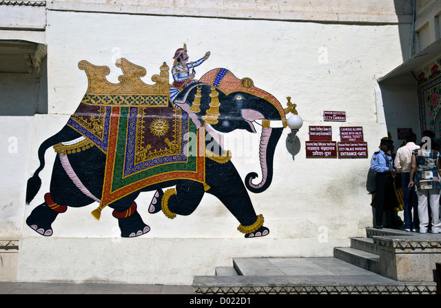 indian elephant wall painting stock photos indian elephant wall painting stock images alamy. Black Bedroom Furniture Sets. Home Design Ideas