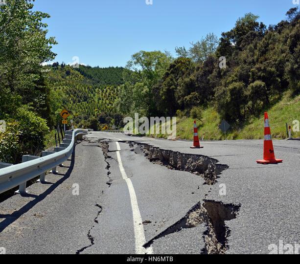 Earthquake cracked road