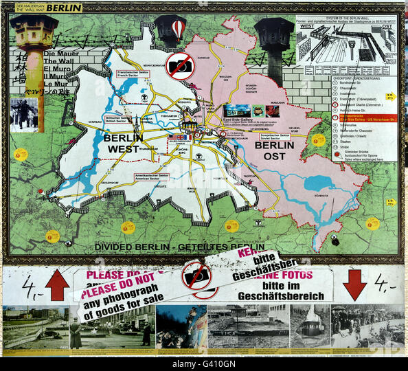 East West Germany Berlin Map Stock Photos East West Germany - Berlin map east west