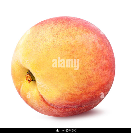 Peach  isolated on white background - Stock Image