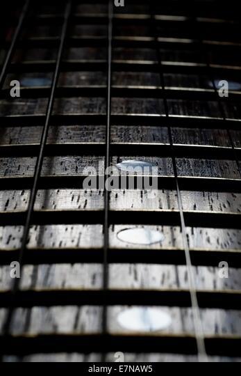 Electric Guitar Fretboard And Strings Close Up Macro Shot