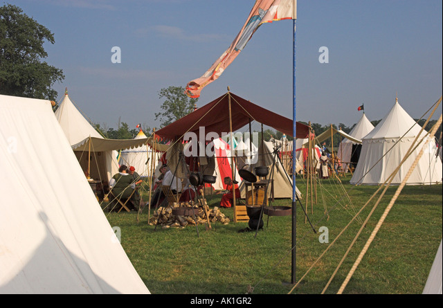 C&site with cooking fire and many tents medieval reenactment - Stock Image & Medieval Tent Stock Photos u0026 Medieval Tent Stock Images - Alamy