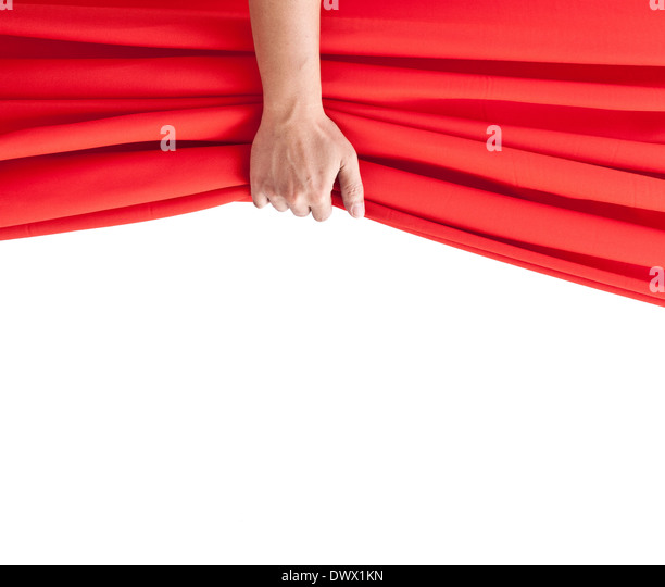 Hand Opening Red Curtain On White.   Stock Image