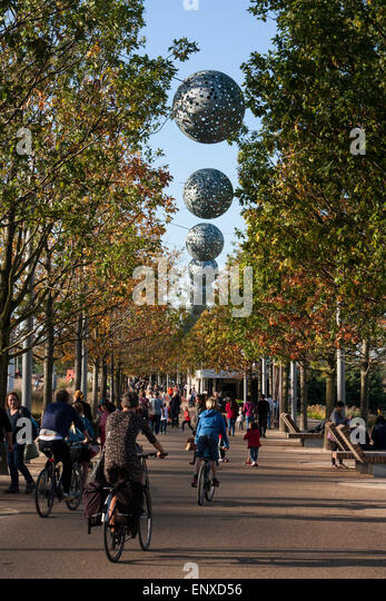 London Olympic Park Legacy Public Enjoying Leisure Time Walking And Cycling Through